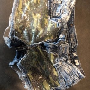 Miss Me Camo Sequin Shorts